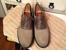 Wallin & Bros Men's Suede Saddle Shoes Tan with Brown lace up Size 43, US 11 M