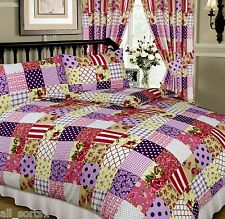 PATCHWORK BERRY PLUM PINK FLORAL CREAM WHITE TARTAN SQUARES SINGLE BED DUVET SET