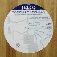 Jelco TK-850M & TK-850M MkII Custom Designed Tonearm Alignment Protractor