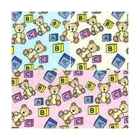 Baby Bear Teddy Kids Letter Blocks Polycotton Fabric