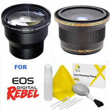TELEPHOTO ZOOM LENS 3.5X + ULTRA WIDE FISHEYE LENS FOR CANON EOS REBEL T3 T3I