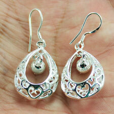 Women fashion  Silver Hollow out tracery Thick Dangle Earrings