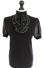 LADIES WOMENS NEXT INTEGRAL JUMPER-BLOUSE TOP FRILLED BIB HIGH NECK UK 10 EU 38