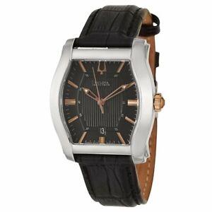 New Mens Bulova 65B146 Accutron Stratford Swiss Made Leather Strap Watch