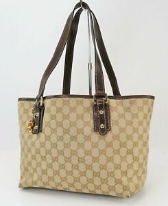 Authentic GUCCI Brown GG Canvas and Leather Shoulder Tote Bag #40528