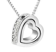 Silber Halskette Herz Anhänger mit Kette Herzkette Strass Schmuck Liebe Geschenk