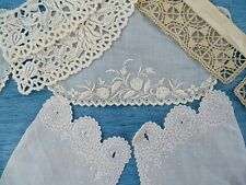 More details for three pairs of antique embroidered cuffs & a needle lace stand collar