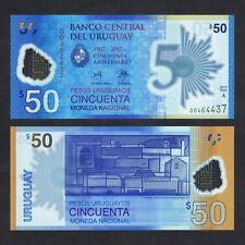 2018 URUGUAY 50 PESOS URUGUAYOS POLYMER P-NEW UNC > NUMERAL 50 RAYS COMM NR