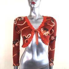 Tendance Women's Bolero Shrug Rust Tapework Velvet Tie Lace Sequins France  ~  8