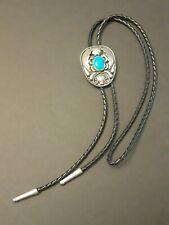 Bolo Tie Signed Mexico Vintage Alpaca Silver Turquoise Concho