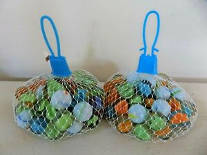 NEW Lot 2 Mesh Bags of Glass Marbles