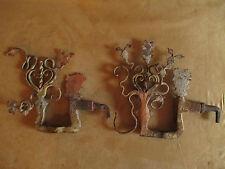 ancien décor de charrette sicilienne en fer forgé peint art populaire XVIII ème