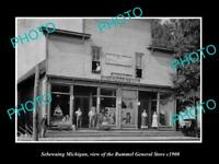 OLD LARGE HISTORIC PHOTO OF SEBEWAING MICHIGAN, THE RUMMEL GENERAL STORE c1900