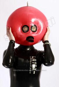 100% Latex  Rubber  Gummi Rote sexy aufblasbare Kopfbedeckung cosplay xs-xxl