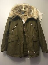 ZARA AW16 Khaki Parka Coat With Faux Fur Lining Large Hood Size S Uk 8 /10 Zara
