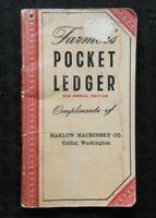 1950 JOHN DEERE HARLOW MACHINERY COLFAX WA FARMERS POCKET LEDGER A B G TRACTOR