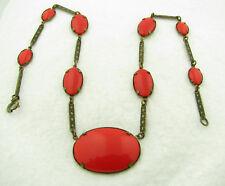 """Vintage Czech Czechoslovakia Signed Red Glass 16 1/2"""" Necklace"""