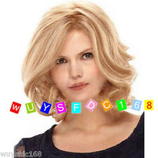 New Fashion Sexy Women's Wigs Short Blonde MIX Curly Wavy Natural Hair Wig+Cap