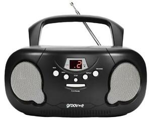 Original Boombox Portable CD/Radio Player, Black - GROOV-E