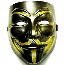 COOL ANONYMOUS FAWKES V FOR VENDETTA MASK IN BLACK GOLD HALLOWEEN!