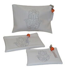 Faux Leather Pouch Set 3 Piece Moroccan Hamsa Cosmetic Organizer Wallet White