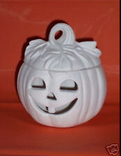 Ceramic Bisque Ready to Paint  Pumpkin with Leaves Clip in  Light included