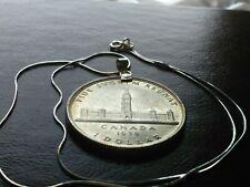 "1939 Canada Parliament Silver Dollar on an 18"" Italian .925 Silver Petite Chain"