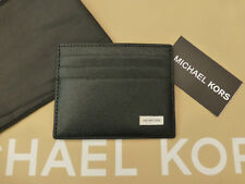 MICHAEL KORS Exquisite Card Holder TALL Case Black Leather Wallet BNWT RRP£59