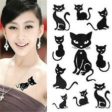 FD972 Removable Waterproof Temporary Tattoo Body Stickers~Lovely Black Cat~1pc A