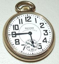 Antique Working 1908 WALTHAM Vanguard 10K Gold 23J Railroad RR Pocket Watch 16s