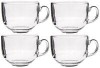 Set of 4 Extra Large JUMBO Clear Glass Coffee Mugs Soup Mugs 500ml Capacity
