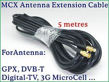 MCX Antenna extension cable 5M 16FT GPS Receiver/ Digital TV DVB/ 3G MicroCell x