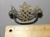 "VINTAGE   DRAWER PULL DROP PULL BRASS 3"" HOLE SPACE"