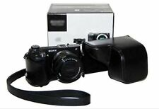 Black Leather Camera Case Bag for Sony NEX6 NEX-6 A6000 ILCE-6000L NEX7 16-50MM