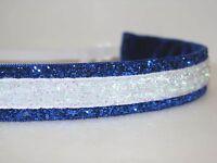 Glitter Headband no slip adjustable BLUE/WHITE non sweaty Hair Bands KC ROYALS