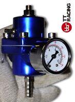 Universal Adjustable Fuel Pressure Regulator Kit w/ Gauge EVO FTO GTO Blue
