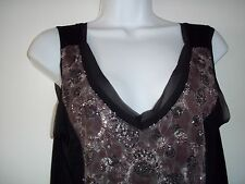 NWT Cable & Gauge Black Sleeveless Sequin Front Top SZ. M SILKY SOFT  $60.00 TAG