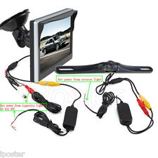 "Wireless 5"" Monitor 170°Car Rear View Backup Reverse Camera Waterproof 2.4G Kit"
