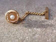 VINTAGE 1970 GOLD PLATED DIAMOND CUT FAUX TINY PEARL TIE PIN CLIP TACK TAC