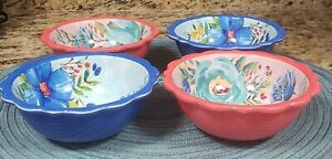 THE PIONEER WOMAN 10 OZ SET OF 4  DELANEY FLORAL DIP BOWLS 2 CORAL & 2 BLUE NEW