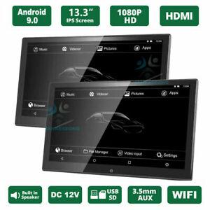 "2PC 13.3"" Android 9.0 Car Headrest Screen Monitor 1080P WIFI Bluetooth HDMI USB"