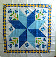 Hand Applique Tulip & Lone Star QUILT TOP with nice block on point borders