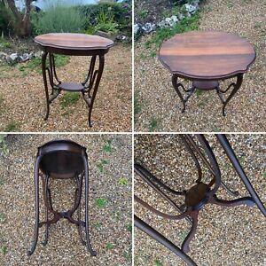 🌟Antique Vintage Small Elegant Wooden Side Console Hall Table Two Tier Oval