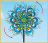 Bright Metal Peacock Double Wind Spinner Stake Outdoor Yard Garden Home Decor 4'