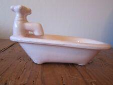 VINTAGE PINK CERAMIC FOOTED BATHTUB SHAPED SOAP DISH