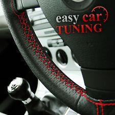 Para Nissan Micra K11 92-02 Negro De Cuero Perforado cubierta del volante Rojo