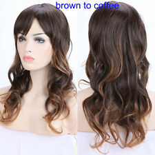 "Dark Blonde Brown Ombre Hair Full Wig 19-28"" Thick Long Curly Wavy Wigs Cosplay"