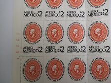 1968 Mexico Airmail Block of 16 Stamps, With Control #, Scott #C334, Mnh, 2p