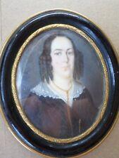 École française XIX-Peinture Miniature-Portrait femme--cadre-painting