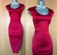 Karen Millen UK 12 Red Satin Round Neck Wedding Cocktail Pencil Midi Dress EU 40